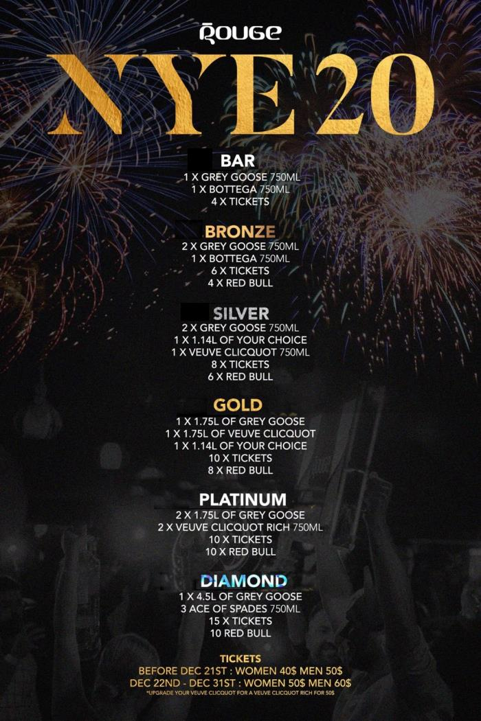 Montreal New Years Eve NYE Tickets Events Party Parties 2022 Rouge